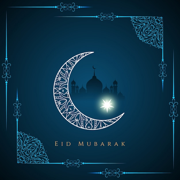Eid mubarak disegno elegante di sfondo Vettore gratuito