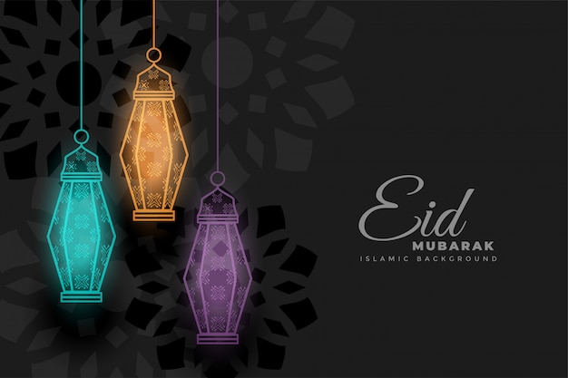 Eid mubarak incandescente sfondo di lampade decorative Vettore gratuito