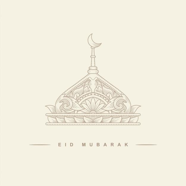 Eid mubarak o ramadan, celebrazione islamica, illustrazione della moschea con una falce di luna per carte gretting. Vettore Premium
