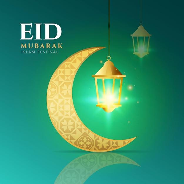 Eid realistico mubarak della luna dorata araba Vettore gratuito