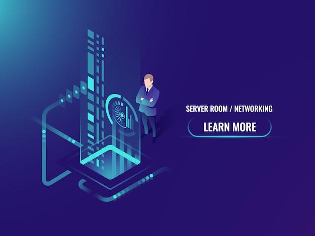 Elaborazione del flusso di dati isometrici, informazioni sicure sul concetto di cloud server Vettore gratuito