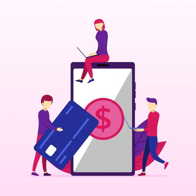 Elaborazione di pagamenti di mobile banking dalla carta di credito sullo schermo Vettore Premium
