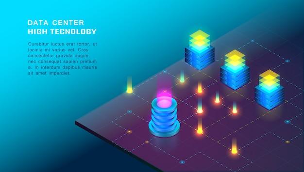 Elaborazione isometrica di big data, web hosting, concetto di server Vettore Premium
