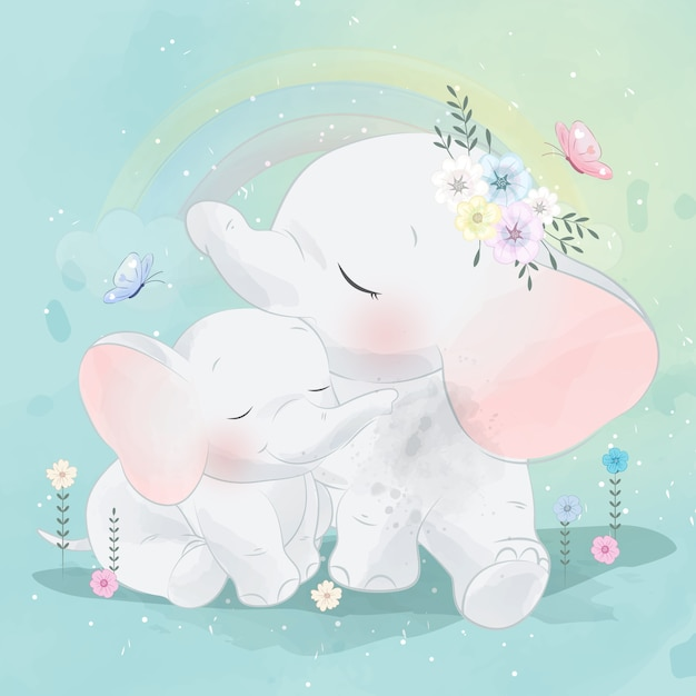 Elefante carino madre e bambino Vettore Premium