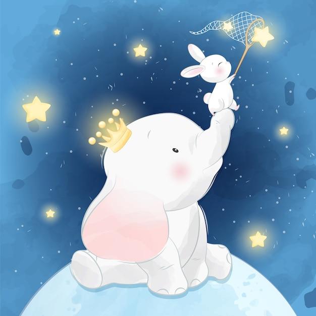 Elefante carino seduto sulla luna con coniglietto Vettore Premium