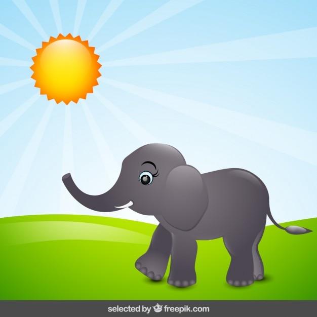 Elefante cartone animato in campagna scaricare vettori
