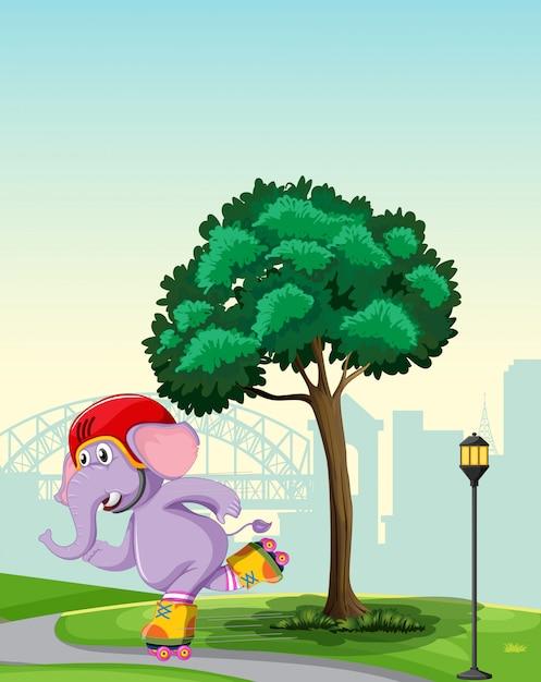 Elefante che gioca a roller skate nel parco Vettore gratuito