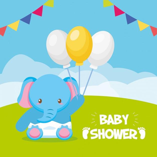 Elefante con palloncini per baby shower card Vettore gratuito