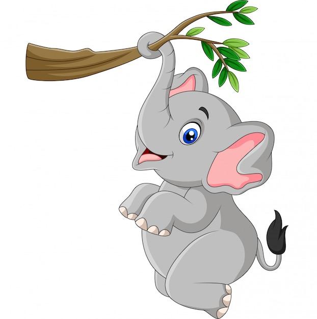 Elefante divertente del fumetto che gioca su un ramo di un albero Vettore Premium