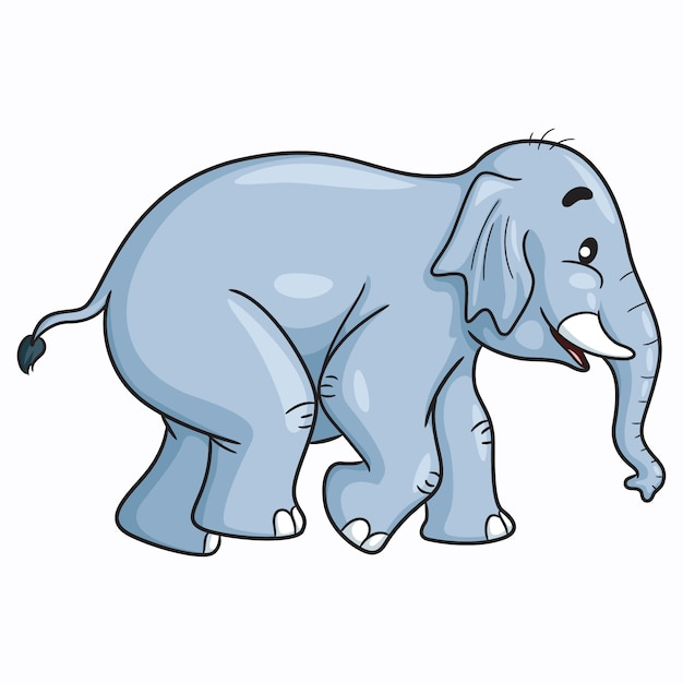 Elefante simpatico cartone animato Vettore Premium