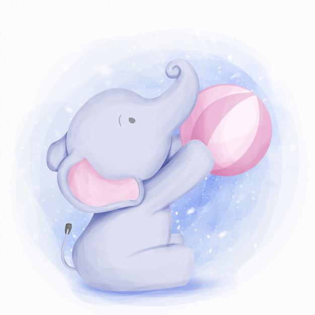 Elefante sveglio del bambino che gioca palla Vettore Premium