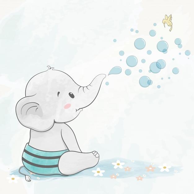 Elefante sveglio del bambino con il fumetto di colore di acqua delle bolle di aria disegnato a mano Vettore Premium