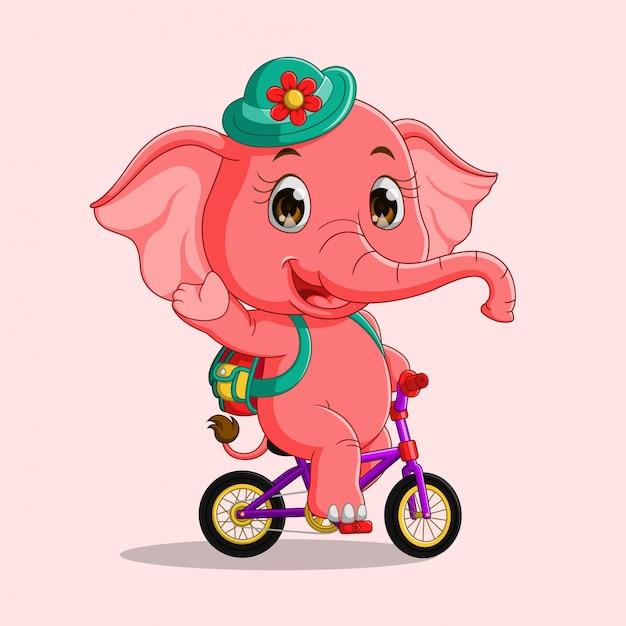 Elefante sveglio del fumetto che guida una bicicletta Vettore Premium