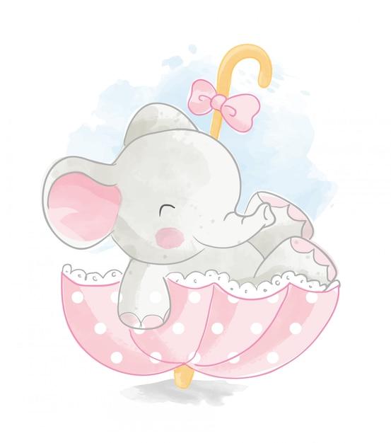 Elefante sveglio nell'illustrazione dell'ombrello Vettore Premium
