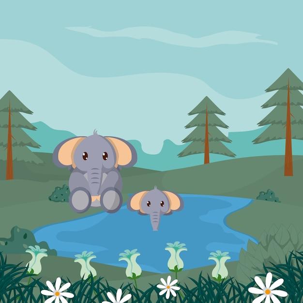 Elefanti a cartoni animati di animali carini della foresta