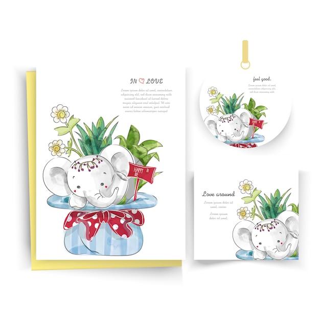 Elefanti in carta floreale in stile acquerello doodle. Vettore Premium