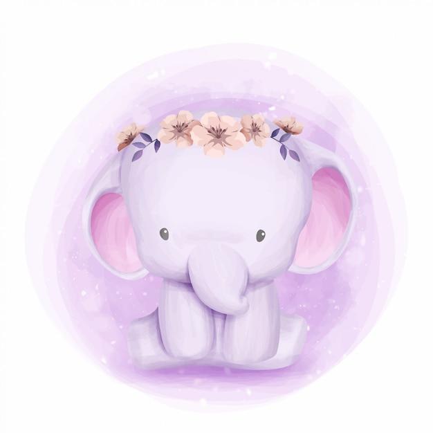 Elefantino con corona floreale Vettore Premium