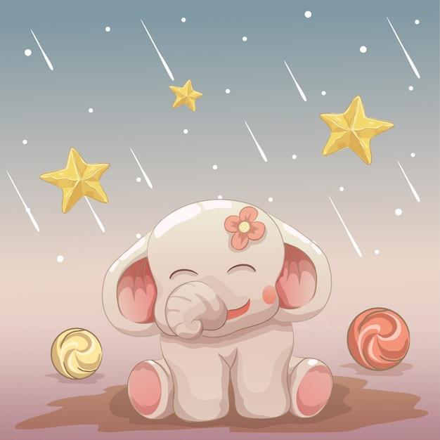 Elefantino felice guardando le stelle cadenti Vettore Premium