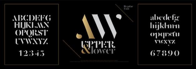 Elegante alfabeto lettere font. lettering classico Vettore Premium