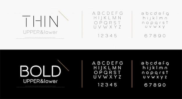 Elegante alfabeto lettere font Vettore Premium