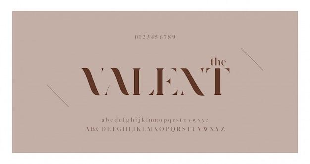 Elegante alfabeto lettere serif font e set di numeri Vettore Premium