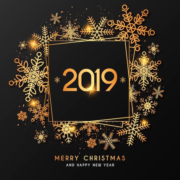 Elegante anno nuovo sfondo con cornice dorata Vettore gratuito