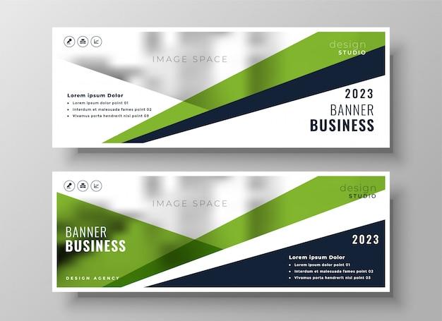 Elegante bandiera di affari geometrica verde Vettore gratuito