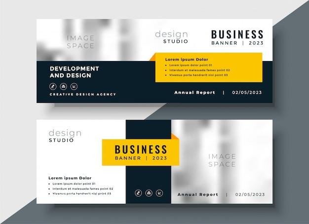 Elegante banner aziendale giallo aziendale Vettore gratuito