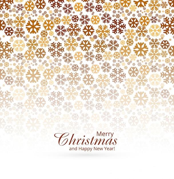 Elegante biglietto di auguri di buon natale con sfondo di fiocchi di neve Vettore gratuito