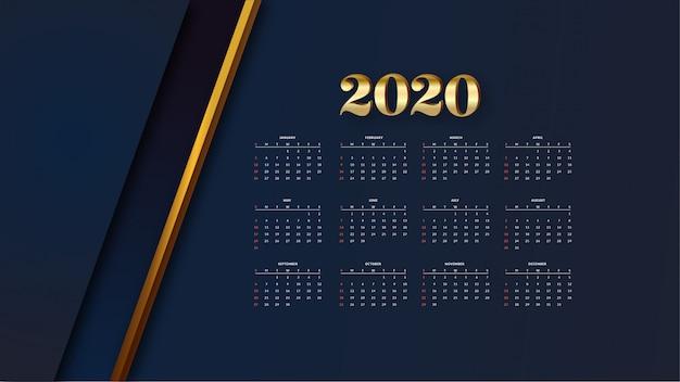 Elegante calendario dorato Vettore gratuito