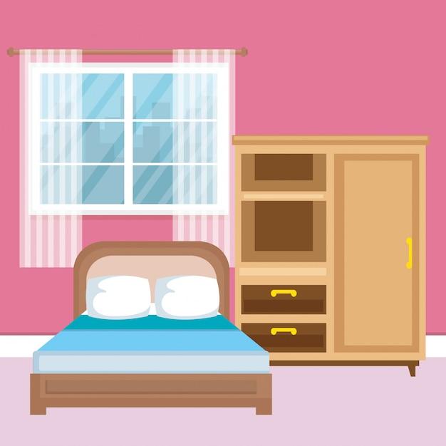Elegante camera da letto classica scena Vettore gratuito