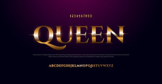 Elegante carattere alfabeto in metallo cromato color oro. carattere tipografico in stile classico dorato Vettore Premium