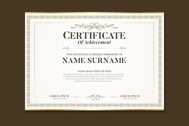 Elegante certificato con cornice ornamentale Vettore gratuito