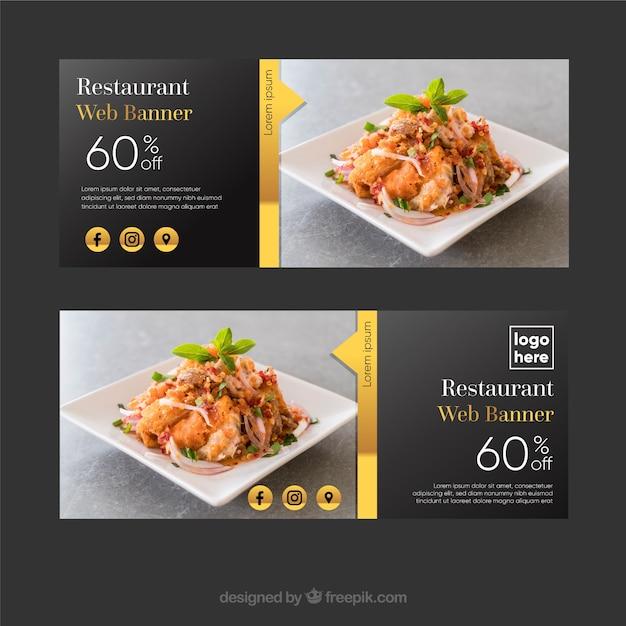 Elegante collezione di banner ristorante con foto Vettore gratuito