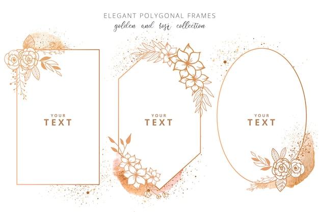 Elegante collezione di cornici poligonali Vettore gratuito