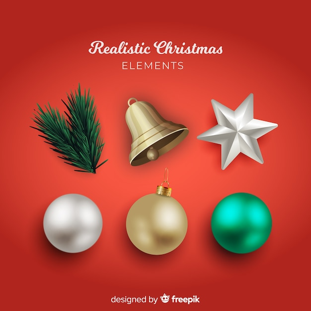 Elegante collezione di elementi natalizi con un design realistico Vettore gratuito