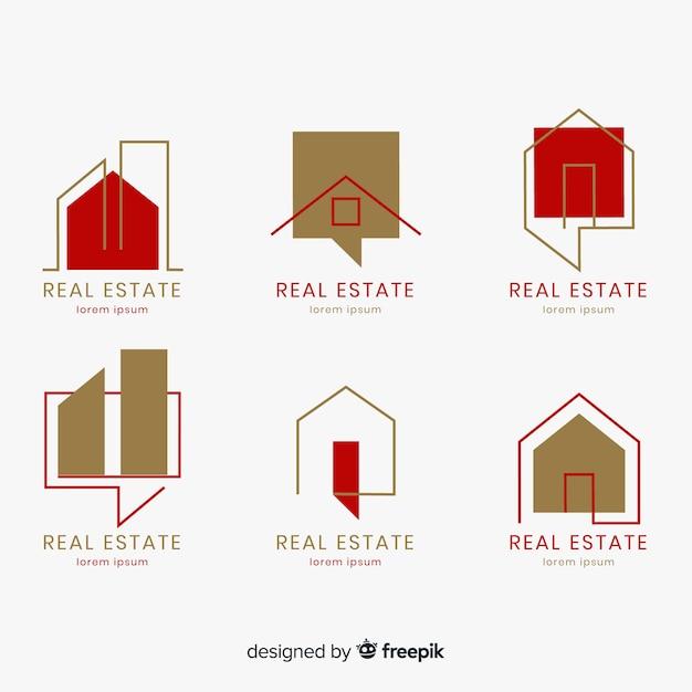 Elegante collezione di marchi immobiliari Vettore gratuito