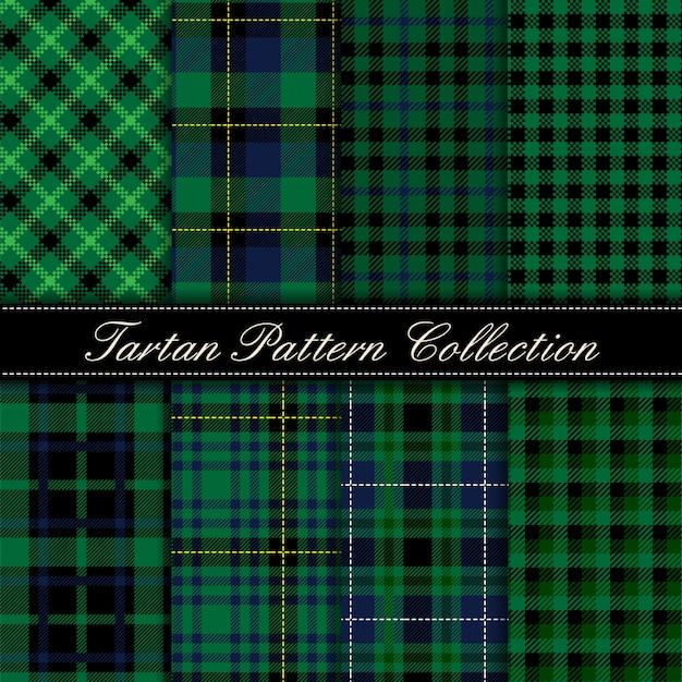 Elegante collezione di modelli senza cuciture scozzesi verde scuro Vettore Premium