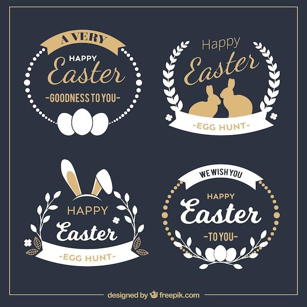 Elegante collezione distintivo di Pasqua Vettore gratuito
