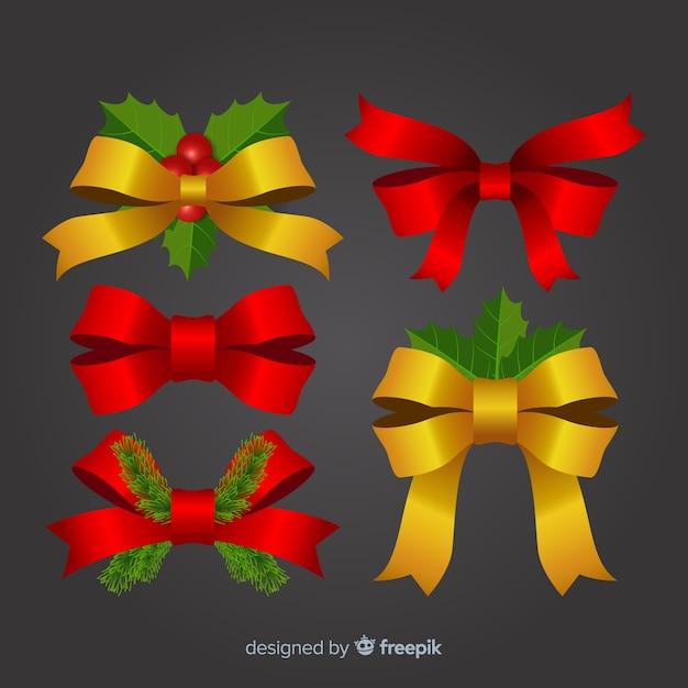 Elegante collezione natalizia in nastro rosso e oro Vettore gratuito
