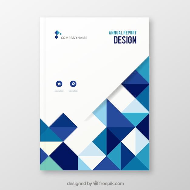 Elegante copertina bianca e blu della relazione annuale con forme geometriche Vettore gratuito