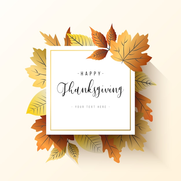 Elegante cornice del ringraziamento con foglie Vettore gratuito