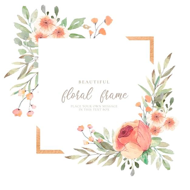 Elegante cornice floreale con fiori ad acquerelli Vettore gratuito