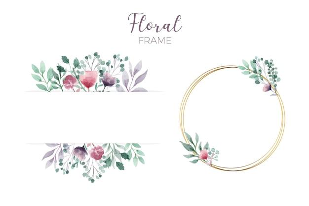 Elegante cornice floreale Vettore gratuito