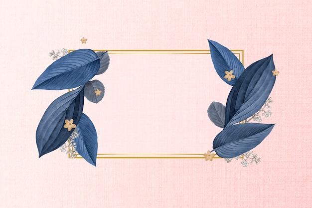 Elegante cornice in foglia vegetale Vettore gratuito
