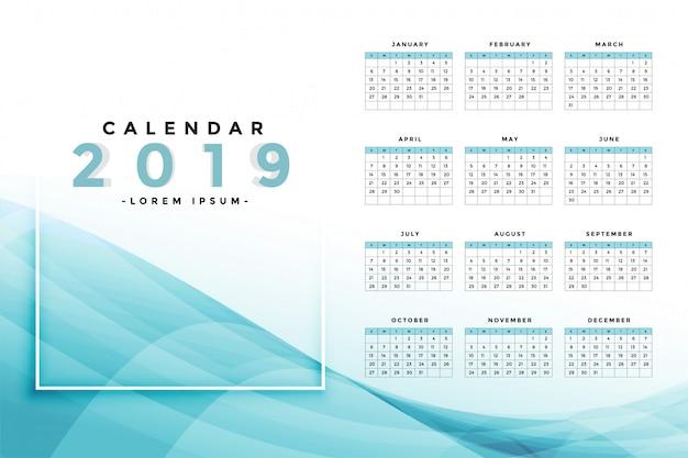 Elegante design da calendario blu 2019 Vettore gratuito