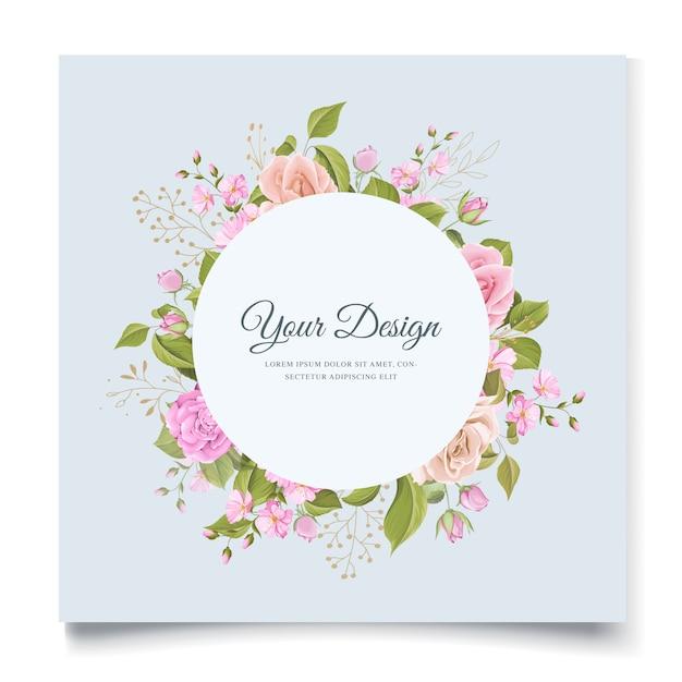 Elegante design floreale invito a nozze Vettore gratuito