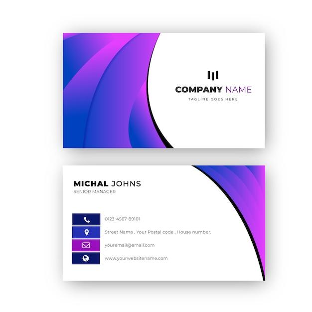Elegante design professionale biglietto da visita sfumato Vettore Premium