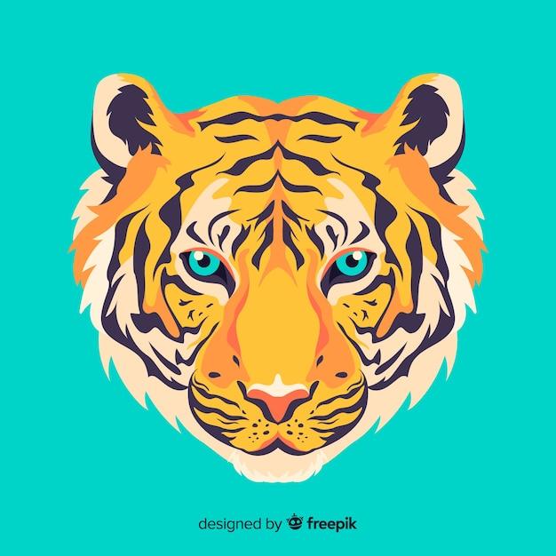 Elegante faccia da tigre Vettore gratuito