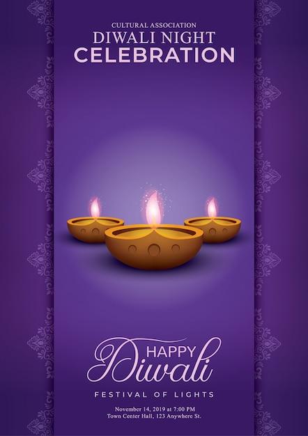 Elegante felice diwali decorativo viola Vettore Premium
